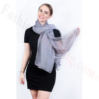 Light Solid Chiffon Shawl Grey