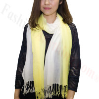 Ombre Solid Print Scarf Yellow/White