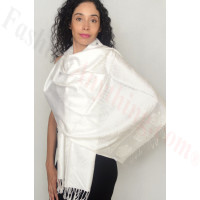Rose Border Pashmina White