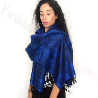 Rose Border Pashmina Royal Blue