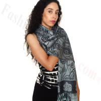 Rose Border Pashmina Navy/Light Blue