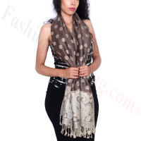 Dots Paisley Pashmina Coffee