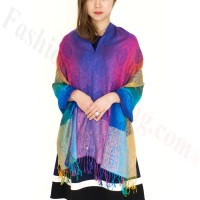Paisley Rainbow Pashmina Multi Royal Blue