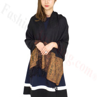 Paisley Leaves Pashmina Black