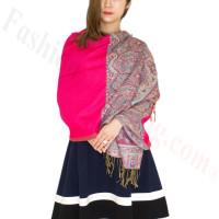 Luxury 2ply Pasiley Pashmina Hot Pink