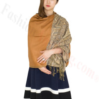 Luxury 2ply Pasiley Pashmina Brown