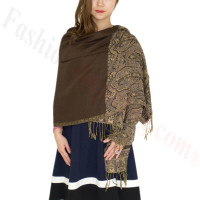 Luxury 2ply Pasiley Pashmina Coffee