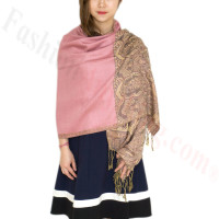 Luxury 2ply Pasiley Pashmina Pink