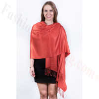 Rust Red Solid Pashmina Scarf