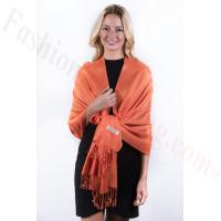 Orange Solid Pashmina Label Scarf