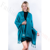 Teal Solid Pashmina Label Scarf