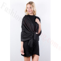 Black Solid Pashmina Label Scarf