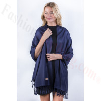 Navy Blue Solid Pashmina Label Scarf