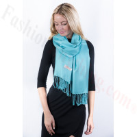 Aqua Blue Solid Pashmina Label Scarf