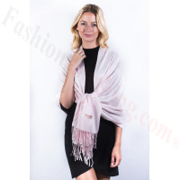 Pale Pink Solid Pashmina Label Scarf