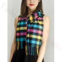 Woven Cashmere Feel Checker Scarf Z03 Yellow Multi Color