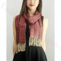 Woven Cashmere Feel Special Design Scarf Z04 Dark Red