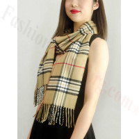 Woven Cashmere Feel Classic Scarf Camel