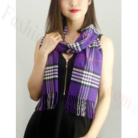 Woven Cashmere Feel Classic Scarf Purple
