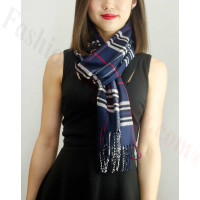 Woven Cashmere Feel Classic Scarf Navy