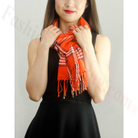 Woven Cashmere Feel Classic Scarf Orange Red