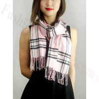 Woven Cashmere Feel Classic Scarf Pink