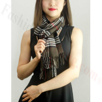 Woven Cashmere Feel Classic Scarf Dark Brown