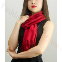 Solid Cashmere Feel Scarf Burgundy