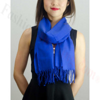 Solid Cashmere Feel Scarf Royal Blue