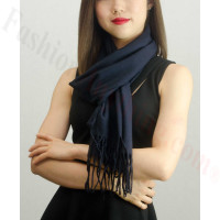 Solid Cashmere Feel Scarf Navy