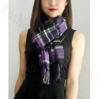 Woven Cashmere Feel Plaid Scarf Z22 Black / Purple