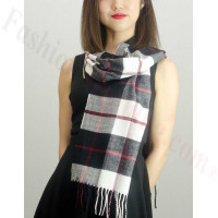 Woven Cashmere Feel Plaid Scarf Z28 Black / White