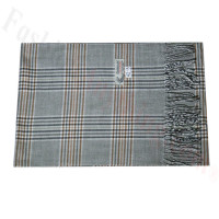 Woven Cashmere Feel Plaid Scarf Z42 Grey