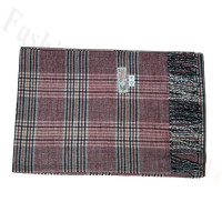 Woven Cashmere Feel Plaid Scarf Z42 Dark Red