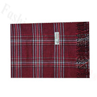 Woven Cashmere Feel Plaid Scarf Z42 Red