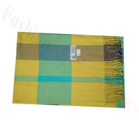 Woven Cashmere Feel Plaid Scarf Z43 Yellow/Green