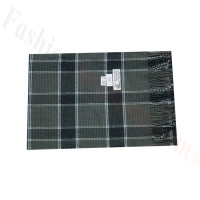 Woven Cashmere Feel Plaid Scarf Z46 Grey