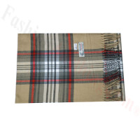 Woven Cashmere Feel Plaid Scarf Z46 Beige/Grey