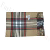 Woven Cashmere Feel Plaid Scarf Z46 Beige/Grey