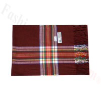 Woven Cashmere Feel Plaid Scarf Z47 Dark Red