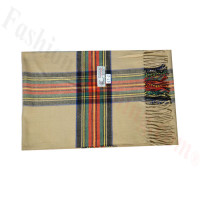 Woven Cashmere Feel Plaid Scarf Z47 Beige