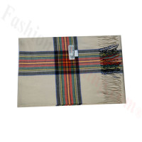 Woven Cashmere Feel Plaid Scarf Z47 Tan