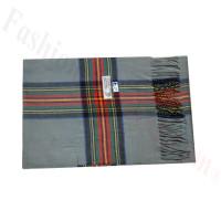 Woven Cashmere Feel Plaid Scarf Z47 Grey