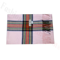 Woven Cashmere Feel Plaid Scarf Z47 Pink