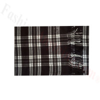 Woven Cashmere Feel Plaid Scarf Z48 Black/White