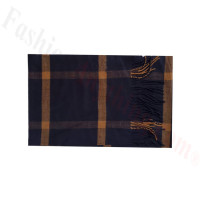 Woven Cashmere Feel Plaid Scarf Z48 Navy/Orange