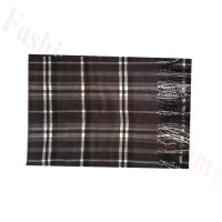 Woven Cashmere Feel Plaid Scarf Z48 Black/Grey
