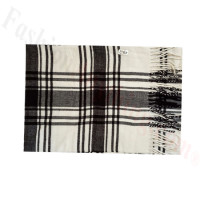 Woven Cashmere Feel Plaid Scarf Z49 Black/White