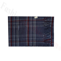 Woven Cashmere Feel Plaid Scarf Z49 Navy
