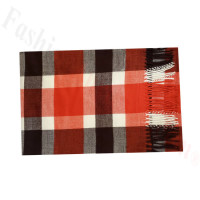 Woven Cashmere Feel Plaid Scarf Z50 Black/Red